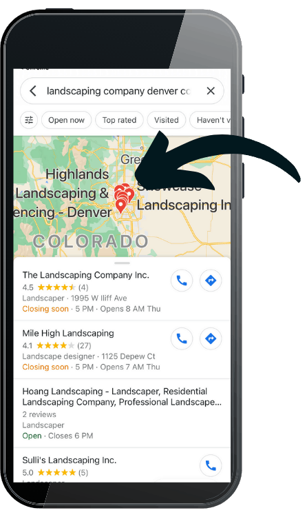 lawn care website design mockup phone view get on map
